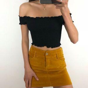 Mustard yellow mini skirt